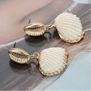 One of a Kind Sea Shell Earrings Cowrie Gold